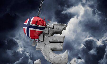 Norway flag ball smashing a European Euro currency symbol. 3D Render