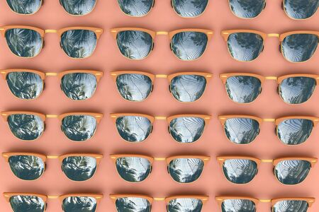 Summer sunglasses with tropical palm tree reflections. 3D Rendering