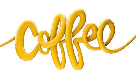 Coffee bright bubble script typography background 3D Render 版權商用圖片