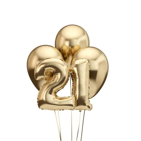 21st birthday gold foil bunch of balloons. Happy birthday. 3D Rendering