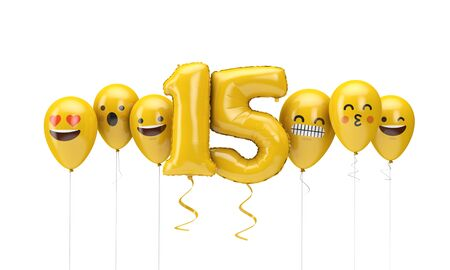Number 15 yellow birthday emoji faces balloons. 3D Render