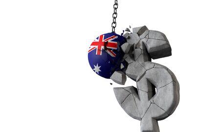 Australia flag ball smashing a USA dollar currency symbol. 3D Render Imagens