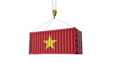 Vietnam flag cargo trade container hanging from a crane. 3D Render