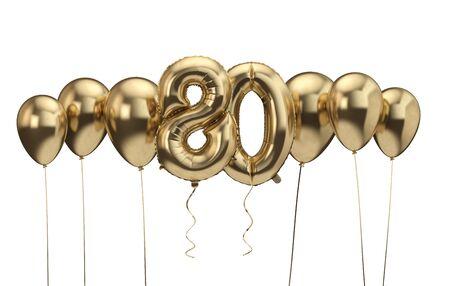 80th birthday gold balloon background. Happy Birthday. 3D Rendering Фото со стока