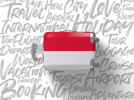 Indonesia flag suitcase travel background. 3D Render