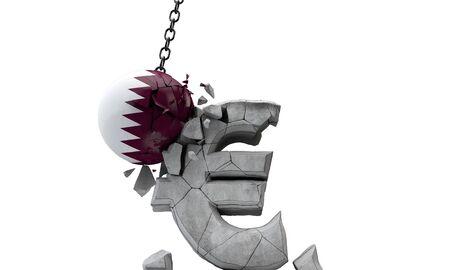 Qatar flag ball smashing a European Euro currency symbol. 3D Render