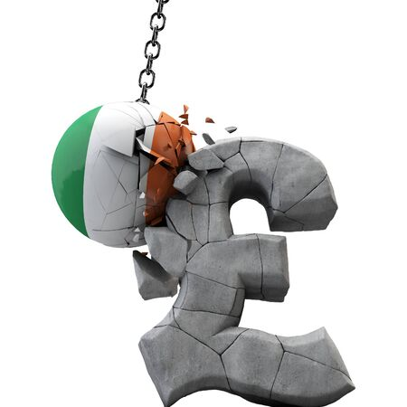 Ireland ball smashing a pound sterling symbol. UK economy. 3D Render