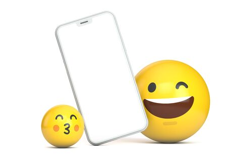 Smartphone mockup with blank screen and fun emoji character. 3D Render 版權商用圖片 - 130810330