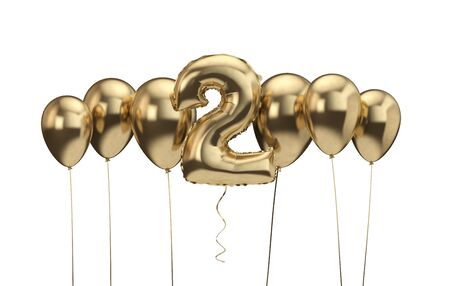 2nd birthday gold balloon background. Happy Birthday. 3D Rendering Banco de Imagens