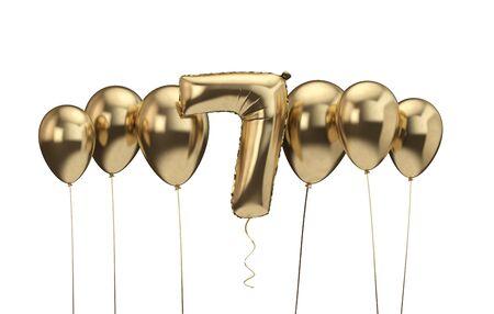 7th birthday gold balloon background. Happy Birthday. 3D Rendering