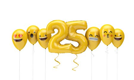 Number 25 yellow birthday emoji faces balloons. 3D Render Фото со стока