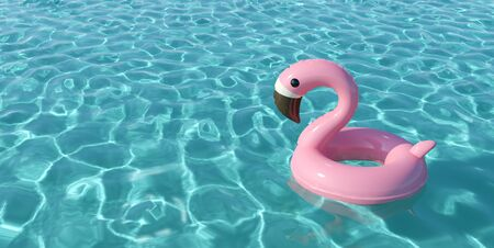 Pink inflatable flamingo pool flat in a swimming pool. 3D Render