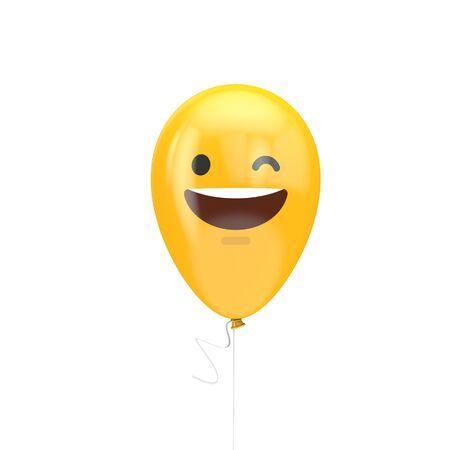 Smiling and winking emoji floating balloon