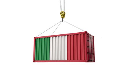 Italy flag cargo trade container hanging from a crane. 3D Render Banco de Imagens