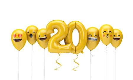Number 20 yellow birthday emoji faces balloons. 3D Render
