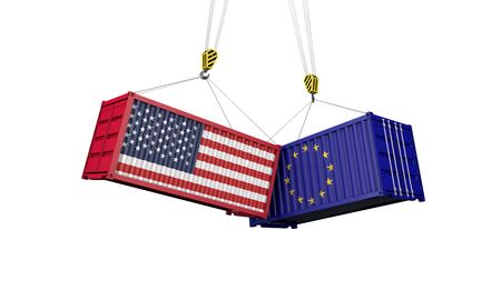USA and europe trade war concept. Clashing cargo containers. 3D Render