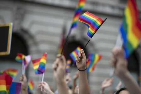 Crowds of people wave gay pride flags at a solidarity march Stok Fotoğraf