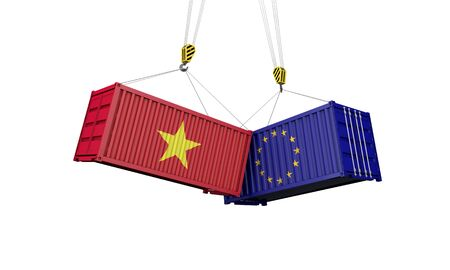 Vietnam and europe trade war concept. Clashing cargo containers. 3D Render