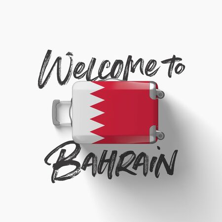 Welcome to Bahrain. national flag on a travel suitcase. 3D Render Stockfoto