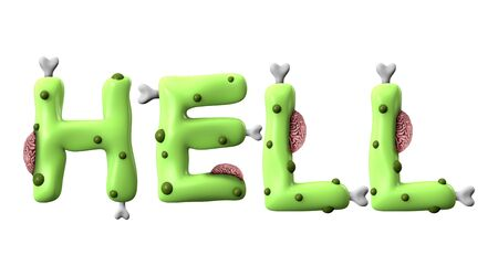 Hell halloween word made from green zombie lettering Stock Photo
