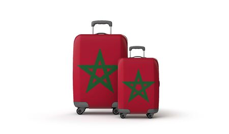 Morocco flag holiday destination travel suitcases isolated on white. 3D Render Stockfoto