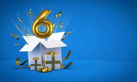 Number 6 exploding from a birthday present gift box. 3D Render 版權商用圖片