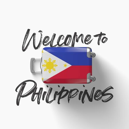 Welcome to Philippines. national flag on a travel suitcase. 3D Render