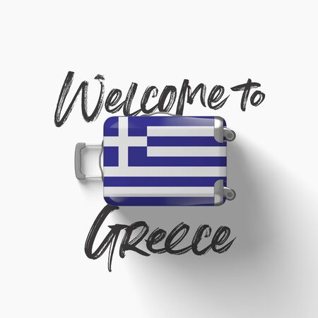 Welcome to Greece. national flag on a travel suitcase. 3D Render Stockfoto