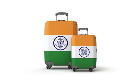 India flag holiday destination travel suitcases isolated on white. 3D Render Stockfoto