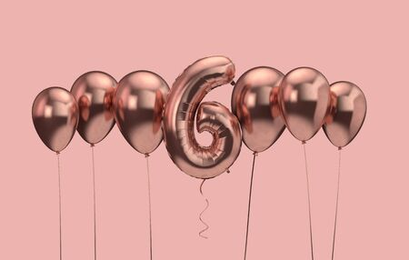 6th birthday pink balloon background. Happy Birthday. 3D Rendering