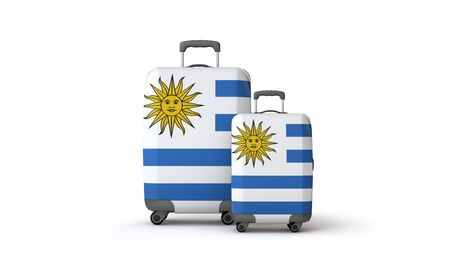 Uruguay flag holiday destination travel suitcases isolated on white. 3D Render