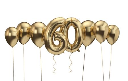 60th birthday gold balloon background. Happy Birthday. 3D Rendering