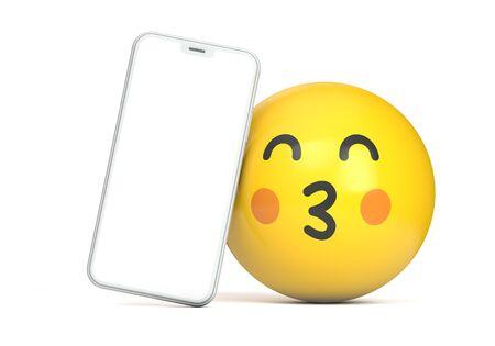 Smartphone mockup with blank screen and fun emoji character. 3D Render