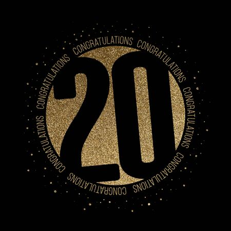Congratulations number 20 birthday anniversary glitter circle design Фото со стока