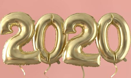 Happy new year 2020 gold foil balloon celebration background. 3D Rendering