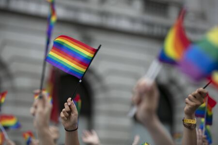Crowds of people wave gay pride flags at a solidarity march Banco de Imagens
