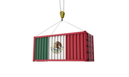 Mexico flag cargo trade container hanging from a crane. 3D Render 스톡 콘텐츠