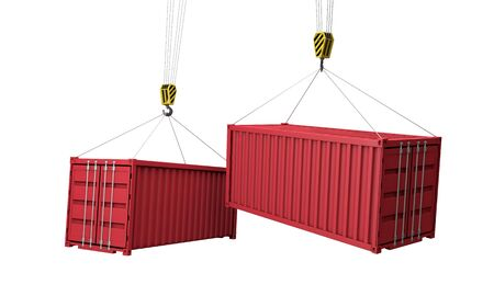 Shipping containers hanging from a crane. Business delivery comcept. 3D Render