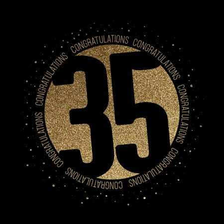 Congratulations number 35 birthday anniversary glitter circle design