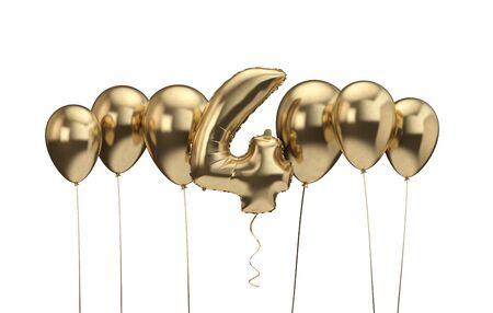 4th birthday gold balloon background. Happy Birthday. 3D Rendering Banco de Imagens