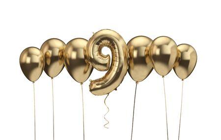 9th birthday gold balloon background. Happy Birthday. 3D Rendering Banco de Imagens