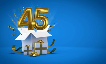 Number 45 exploding from a birthday present gift box. 3D Render 스톡 콘텐츠 - 131681133