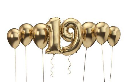 19th birthday gold balloon background. Happy Birthday. 3D Rendering