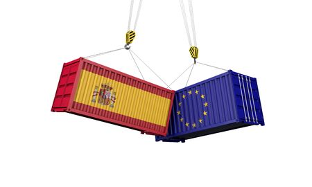 Spain and europe trade war concept. Clashing cargo containers. 3D Render