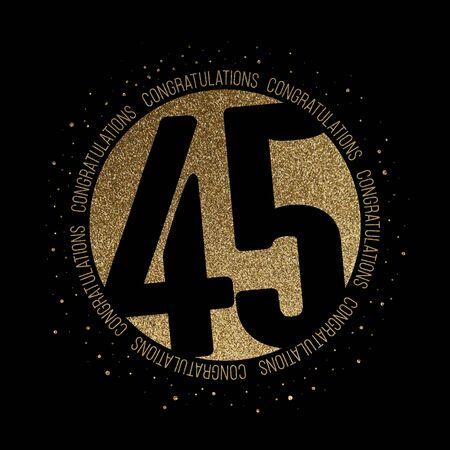 Congratulations number 45 birthday anniversary glitter circle design Stok Fotoğraf