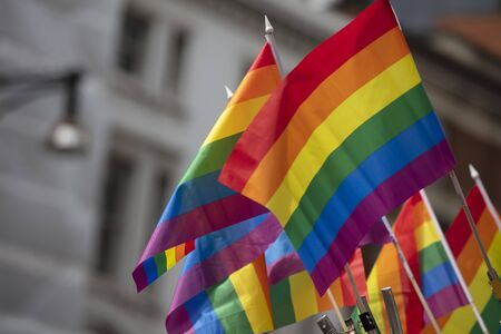 A LGBT gay pride rainbow flag being waved at a pride community celebration event Banco de Imagens
