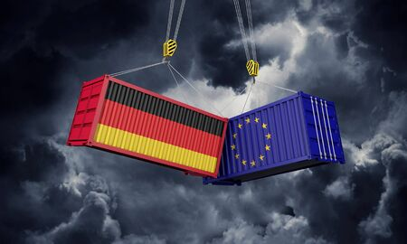 Germany and europe trade war concept. Clashing cargo containers. 3D Render