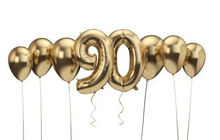 90th birthday gold balloon background. Happy Birthday. 3D Rendering