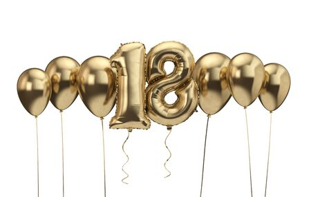18th birthday gold balloon background. Happy Birthday. 3D Rendering Banco de Imagens