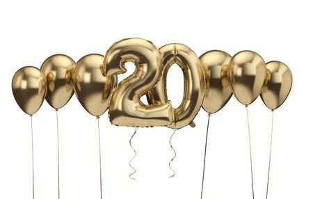 20th birthday gold balloon background. Happy Birthday. 3D Rendering